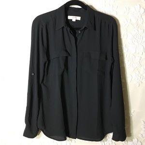 LOFT  Black Adjustable Sleeve Blouse